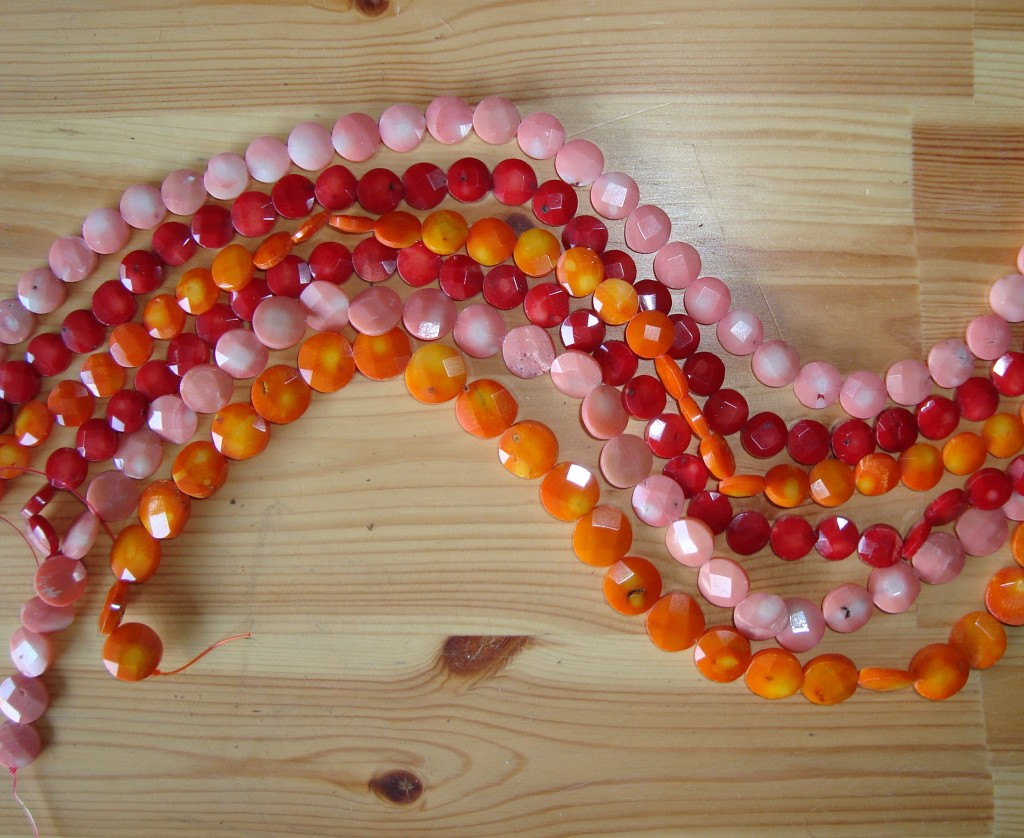 Coral Faceted Coins